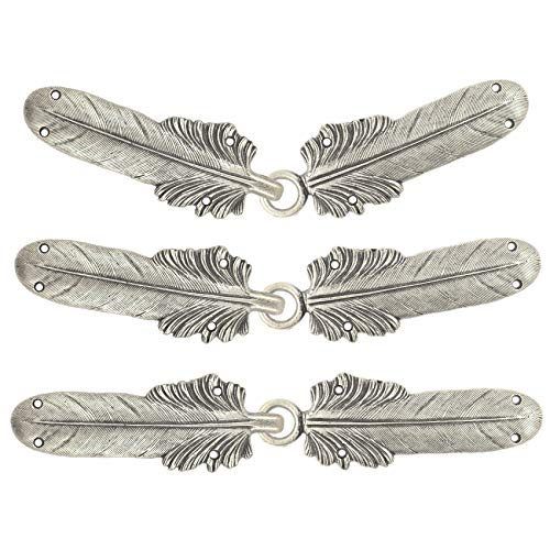 Bezelry 3 Pairs Large Feather Cape or Cloak Clasp Fasteners. 108mm (4-1/4 inch) Fastened. Sew On Hooks and Eyes Cardigan Clip (Antique Silver)