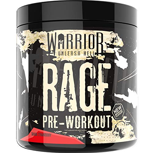 Warrior RAGE Pre Workout Supplement Powder 392g - High Caffeine Energy & Focus - 45 Servings - Savage Strawberry