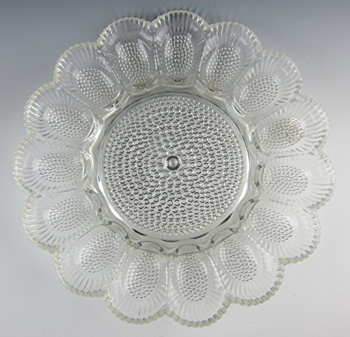 Indiana Glass HOBNIAL-CLEAR Relish Deviled Egg Plate EXCELLENT