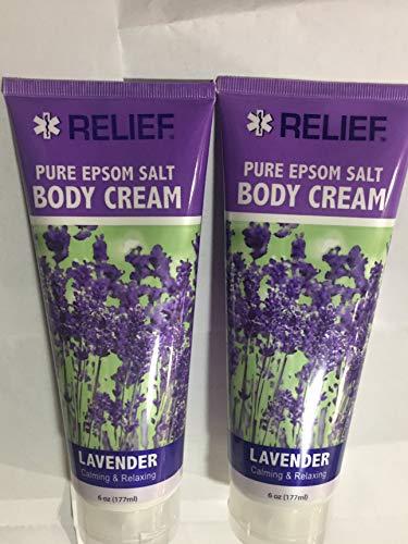 Relief Pure Epsom Salt Body Cream Calming & Relaxing Lavender 6 Oz ( 2pk )
