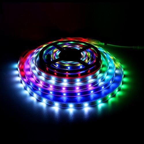 WS2812B LED Streifen, Traumfarbe 16.4ft / 5m WS2812B 150 Leds 5050 RGB SMD individuell Adressierbar LED Band Licht, Vollfarb LED Streifen Licht DC 5V Wasserdicht (Schwarz PCB)