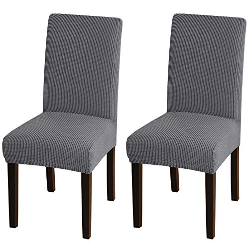 Turquoize Dining Room Chair Covers Stretch Chair Covers for Dining Room Set of 2 Dining Chair Slipcover Parsons Kitchen Chair Covers Removable Chair Protector Covers for Dining Room, Hotel (2, Grey)