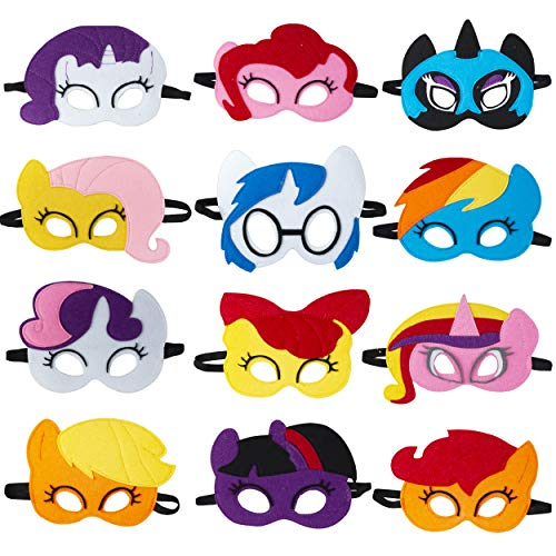 Pony Masks for Little Girls Birthday Party Favors (12 Packs) - Princess Party Supplies with 12 Different Types Pony Masks   Unicorn Masks - Great Idea for Pony Birthday Decorations