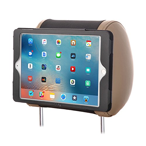 TFY iPad Air Car Headrest Mount,PU Leather Fast-Attach Fast-Release Edition, Black