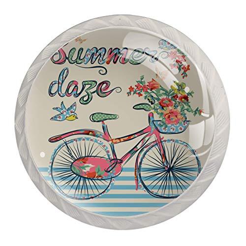 (4 piezas) pomos de cajón para cajones con tiradores de cristal para gabinete, hogar, oficina, armario, vintage, retro, bicicleta, mariposa, pájaros, 35 mm