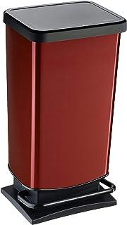 comprar comparacion Rotho Paso, Cubo de basura de 40l con pedal y tapa, Plástico PP sin BPA, rojo metálico, 40l 35.3 x 29.5 x 67.6 cm
