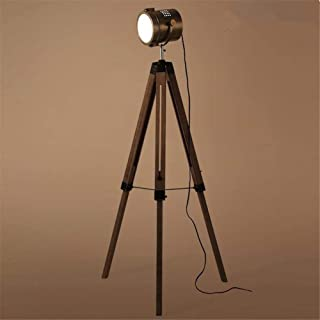Floor Lamp Vintage Wooden Tripod with Bronze Lamp Tube 180° Adjustable Industrial Retro Searchlight E27 Standing Lamp 1.41...