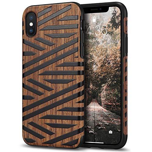Tasikar Cover iPhone XS/Cover iPhone X Custodia Ibrida in Legno e TPU Compatibile con iPhone X/XS (Pelle & Legno)