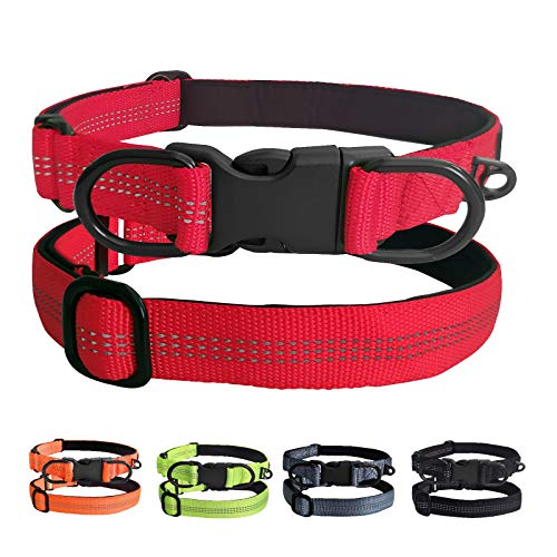 bobipaw Reflective Dog Collar, Adjustable Dog Collar with Quick Release Buckle, Durable Dog Collar with Soft Lining and 2 D-Ring, Red, Green, Orange, Black, Dark Grey(16.9