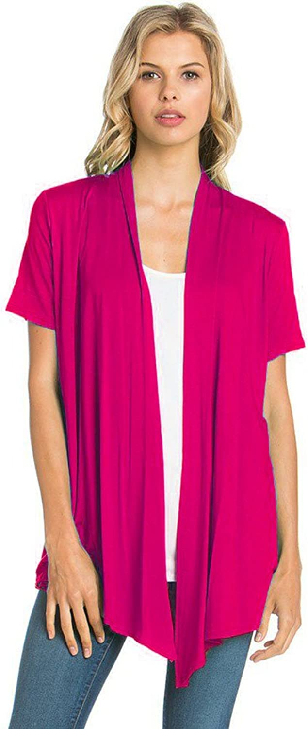 12 Ami Basic Solid Short Sleeve Open Front Cardigan  Made in USA