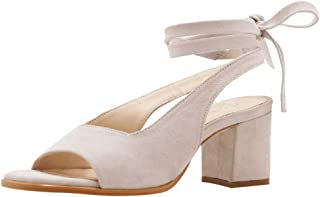 Women Peep Toe Slingback Chunky Low Heel Ankle Strap Lace up Roman Shoes Sandals Summer Dress Pumps by RJDJ