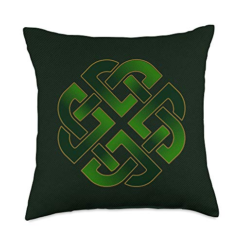 St. Patricks Day Parade Apparel Inc. Emerald Green Celtic Gaelic Knot For St. Patricks Day Throw Pillow, 18x18, Multicolor