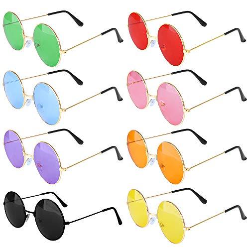 ONESING 8 pares de gafas de sol redondas hippie estilo años 60, polarizadas, gafas de sol hipster, círculos, lentes de colores espejadas, para mujeres y hombres