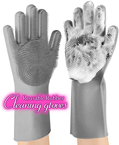 anzoee Reusable Silicone Dishwashing Gloves, Pair of Rubber Scrubbing Gloves for Dishes, Wash...