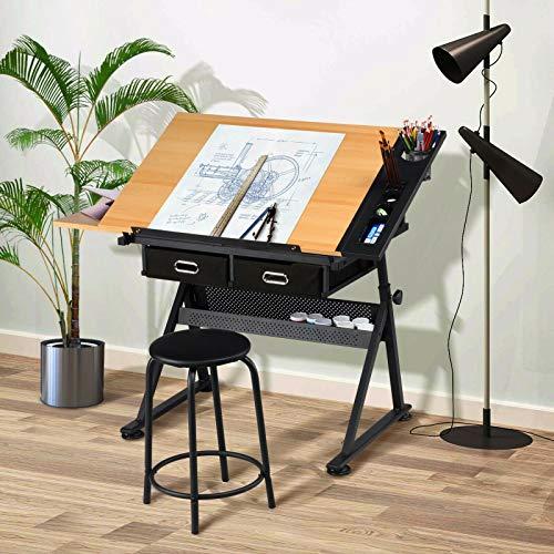 OUNUO Table à Dessin Inclinable - avec 2 Grands Tiroirs, pour Beaux-Arts, Cours de Travail, Les Architectes, Ingénierie - Bureau (Tabouret Inclus)