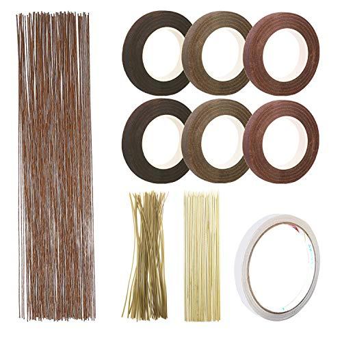 10 PCS Ensemble D'outils de Décoration, Woohome 2 Style Florale Ruban, Fil de Fer Fleur Jauge 26, Attache de Câble Florale Brun et Bâton en Bambou pour Floral, Décor à La Maison