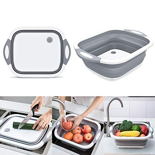 Collapsible Chop and Strain Cutting Board, Mixing Bowl, Colander, Ice Bucket, Fruit and Vegetable Container Basket, Strainer with Draining Plug Multifunctional Kitchen Gadget for Indoor and Outdoor