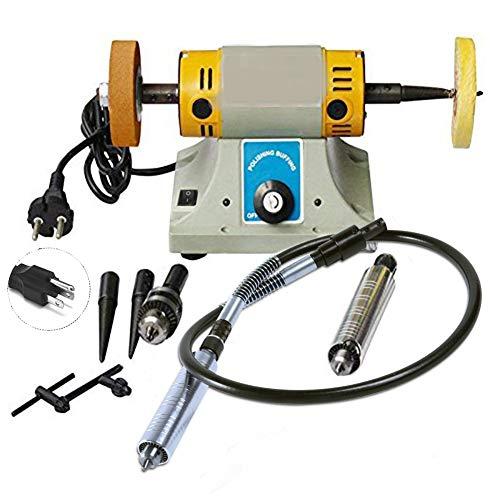 LWQ 350W Multi Mini Electric Grinder Kit de la máquina de Pulido, Ajustable para pulir joyería Herramienta Dental Velocidad del Motor del Torno de Banco Pulidora,EU ⭐