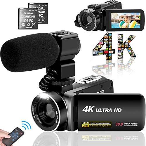 ビデオカメラ 4K YouTubeカメラ3000万画素 デジタルビデオカメラ ユーチューブカメラ 外付けマイク LEDフィルライト 18倍デジタルズーム 3インチタッチモニター予備バッテリー 日本語システム+説明書(ベシックセット)