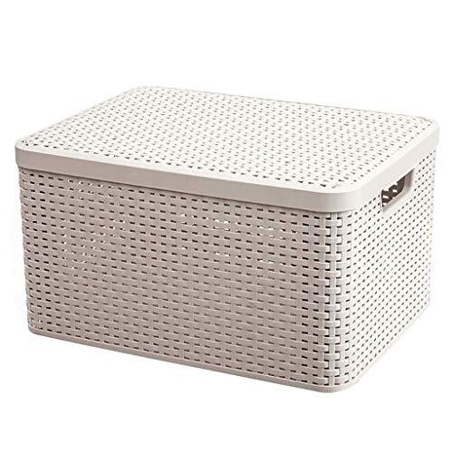JJZXD CBest Choice, Almacenamiento de usos múltiples apilables, lavandería, Organizador, cestas de Asas for el Dormitorio, Sala, baño con empuñaduras, (Color : White)