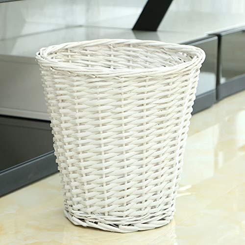 GWW Round Wicker Trash Can,handwoven Waste Paper Bin Whitout Lid Rattan Rubbish Bin For Bedroom Kitchen Bathroom Office-white 18x28x28cm(7x11x11inch)