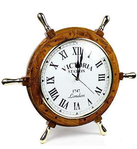 Noor Handicrafts - Reloj de madera con mango de latón, 61 cm