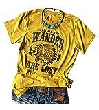 Camiseta de camping para mujer con brújula no todos los que pasean por perdido, casual, manga corta, para viajes atléticos - - M