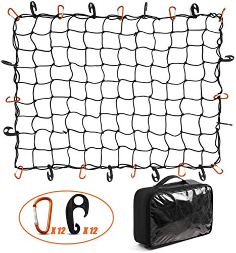 CZC AUTO Bungee Cargo Net 91x122cm Truck Bed Net Stretches to 183x244cm for Pickup Trailer RV SUV Boat |7.6x7.6cm Mesh Net Holds Small and Large|12 Tangle Free Carabiners & 12 Plastic Hooks|Super Duty