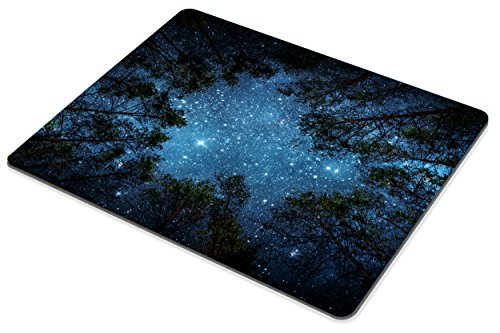 Beautiful Night Sky Mouse Pad by Smooffly, The Milky Way and The Trees Mouse Pad,Sublime Forest Nature View Rectangle Non-Slip Rubber Mousepad Gaming Mouse Pad Photo #4