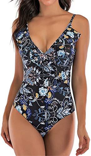 Itvip - Bikini para mujer, cuello en V, sexy, estampado con espalda abierta, bañador de verano M turquesa