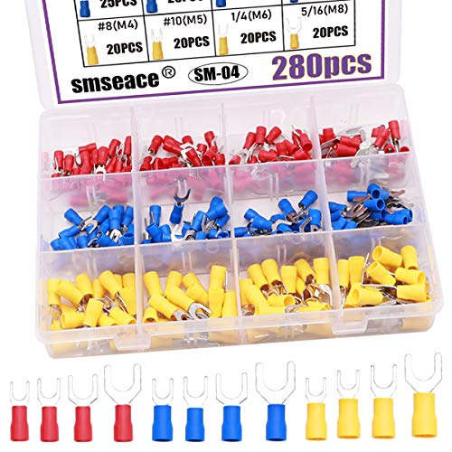 smseace 280pcs Insulated Fork terminals Red Yellow and Blue U-Type Wire Connector Electrical Crimp Terminal AWG 22-16 16-14 12-10 Connectors Assortment Kit SM-04