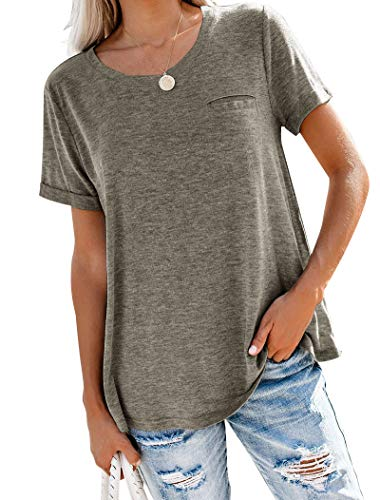 Floral Find Women's Summer Tops Roll Short Sleeve Tees Loose Causal Pocket T Shirt Brown