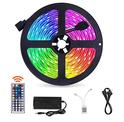 SUNNEST 5m LED-Streifen LED-Lichtleisten Beleuchtung mit 150 LED,Fernbedienung Led stripes Lichtband Leiste Band Beleuchtung für Zuhause, Schlafzimmer, TV, Schrankdeko, Farbwechsel [Energieklasse A+]