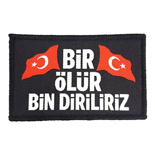 1 x Türkiye Bayragi Bir Ölür Bin Diriliriz Vatan Ay Yildiz Türkiye Türk Asker Patch Aufnäher Flagge Bayrak Türkei Shirt Sticker
