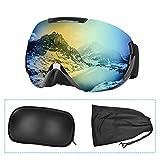Charlemain Lunette de Ski, Masque Ski Sphériques avec Double Lentille Anti-buée, Coupe-Vent, Anti UV 100%, Lunettes de Snowboard OTG Ajustables, Anti-Reflets Grand Angle, pour Homme/Femme
