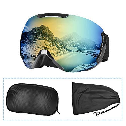 Charlemain Maschera da Sci, Occhiali da Sci OTG, Occhiali da Snowboard Antivento Anti Fog Protezione UV400, Ampio Angolo di Visione, per a Snowboard, Motocross e Altri Sport Invernali