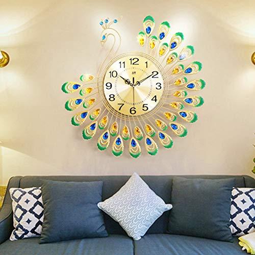 Atyhao Reloj de Pared, Hierro Reloj de Pared Moderno Gran Forma de Pavo Real 3D Reloj silencioso sin tictac para decoración de Sala de Estar