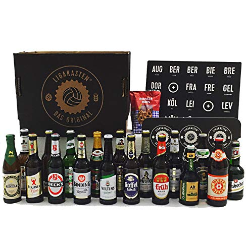 ERSTLIGAKASTEN von LIGAKASTEN - Der Bierkasten von Fans für Fans. 18 Teams - 18 Städte - 18 Biere - 1 Kasten Bier Fußball-Geschenk für Männer (1. Liga)