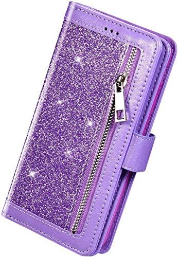 Herbests Kompatibel mit Samsung Galaxy A71 HandyHülle Handytasche Glitzer Bling Glänzend Brieftasche Hülle Multifunktionale Reißverschluss Leder Schutzhülle [9 Kartenfach] Handschlaufe,Lila