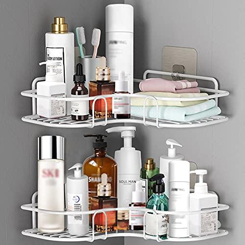 ASHINER 2 paquetes de estante ducha esquina para baño, estanteria rinconera de accesorios baño a prueba de óxido, metalica almacenaje de pared + 4 ganchos adhesivos de hierro - Blanco