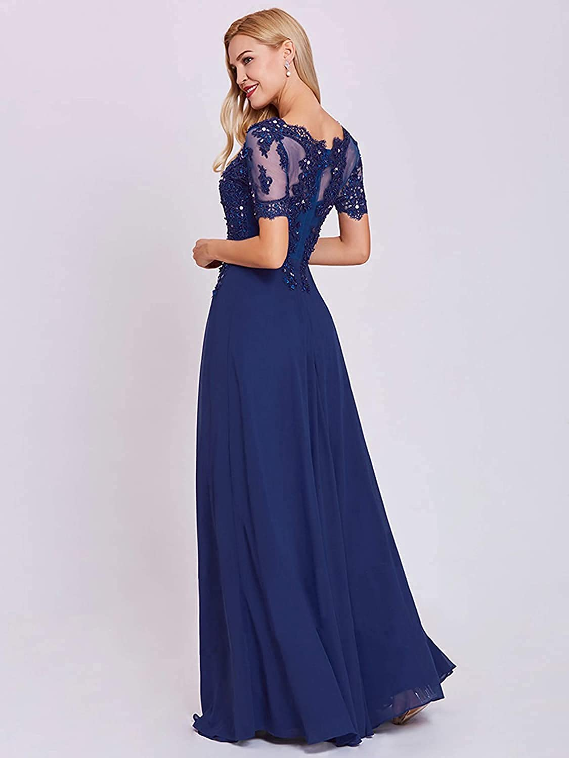 Women's A-line Chiffon Lace Applique Mother of The Bride Dress Beaded Long Formal Evening Gown with Sleeves