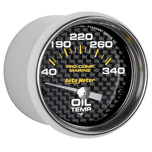 "AUTO METER 200764-40 Gauge Oil Temp (Marine Carbon Fiber Gauge, Oil Temp, 2 1/16"", 140-300ºf, Electric, Marine Carbon Fiber)"