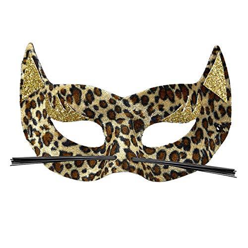 Atractivo Antifaz con Marcas de len - Marfil-Marrn - Encantador Accesorio para Disfraz de Animal felino - El Punto Alto para Festival y Fiestas temticas
