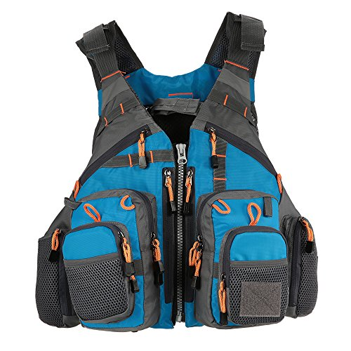 KEXQKN Men's Outdoor 3 In 1 Mesh Fly Fishing Vest and Backpack Breathable Outdoor Fishing Safety Life Jacket Fisherman Multifunctional Vest For Fishing Hunting Travel (Color : Blue black)