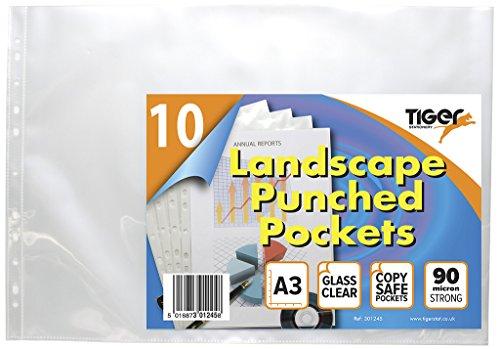 20 x paisaje A3 vaso de plástico transparente carteras fuerte poli bolsillos...
