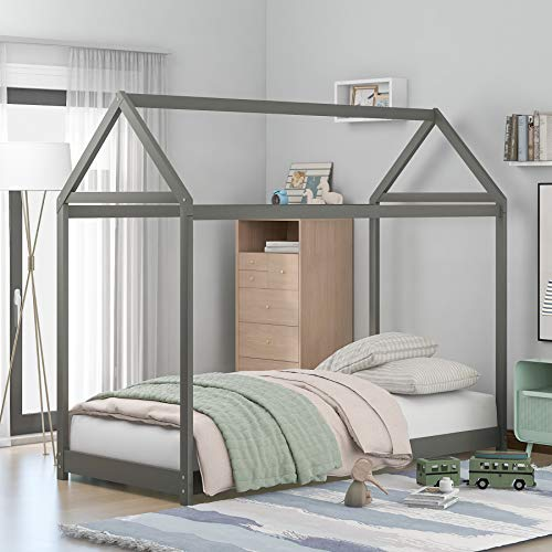 merax folding beds Merax Twin Size House Bed Wood Bed for Boys Girls No Spring Needed, Gray
