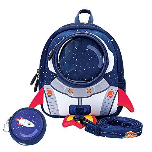 Ikavee Jungen Rucksäcke Kreatives Astronauten Design Schulranzen Kindergarten Rucksäcke Kinder Reisetasche Wasserdicht Tagesrucksäcke mit Anti Verlust Zugseil Eine Kostenlose Geldbörse für Geldbeut