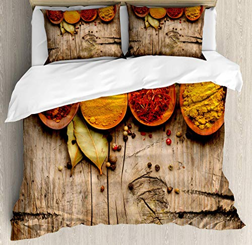 Zozun Spice Duvet Cover Set, Curry Saffron Turmeric and Cinnamon in Spoons on a Wooden Background Handful Amount, Decorative 3 Piece Bedding Set with 2 Pillow Shams, Multicolor