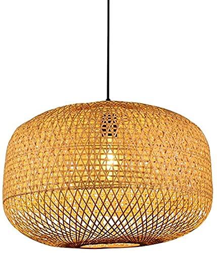 Vinteen Bambú Colgante Luz Moderna Lámpara Tejida Sencilla Moderna Se puede instalar en Dormitorio Salón E27 Fuente de cabeza Lámparas Ahorro de energía Lámparas Decoración Hecho A Mano Colgando Altur