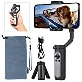 hohem 3-Axis Smartphone Gimbal Stabilizer, Handheld Phone Gimbal w/Moment Auto Inception Face Traking Time-lapse Mode for iPhone 12/11/X/Max/Samsung Android, Only 259g Ultra-lightweight, iSteady X